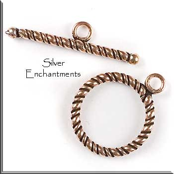 Solid Copper Twisted Rope Toggle Clasp, 16mm