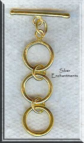 Vermeil 3-Ring Expansion Toggle Clasp