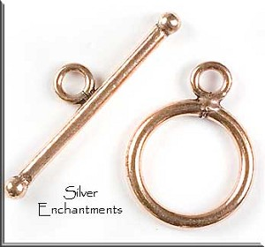 Solid Copper Round Toggle Clasp, 15mm