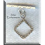 Sterling Silver Diamond Toggle Clasp, Hammered 17mm