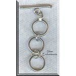 Sterling Silver Round 3-Ring Expandable Toggle Clasp, 14mm Rings