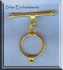 Vermeil Clasp, Round Dot Detail Toggle Clasp