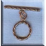 Solid Copper Elegant Twist Toggle Clasp, 17mm