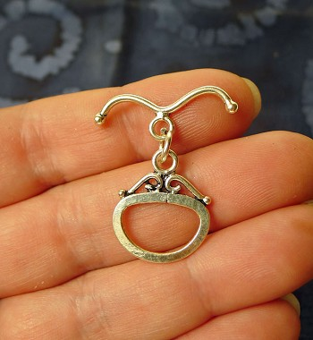 Sterling Silver Fancy Oval Toggle Clasp with Curved Bar