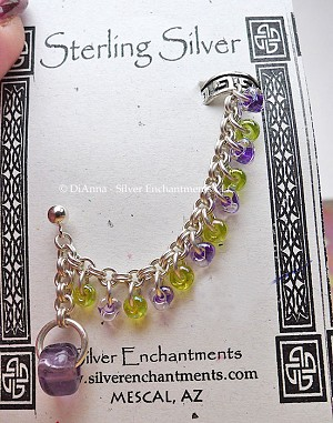 Sterling Silver Beaded Chainmaille Earcuff Slave Earring, Purple-Peridot