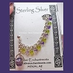 Sterling Silver Chainmaille Climber Earring, Purple and Peridot Beaded Celtic Slave-Style Swag Ear Cuff with Stud Earring