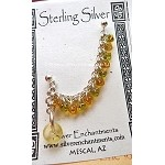 SOLD - Beaded Chainmaille Earcuff Slave Earring, Sterling Silver Cuff Earring, Topaz-Peridot
