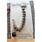 Chainmaille Earcuff Slave Earring, Sterling Silver Beaded Cuff Earring, Hematite-Black