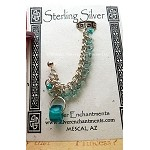 SOLD - Chainmaille Earcuff Slave Earring, Sterling Silver Beaded Ear Cuff Earring, Aqua Teal