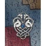 Sterling Silver Celtic Love Birds Pendant Celtic Cranes Pendant with Gemstone - CUSTOM MADE
