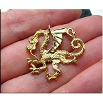 Gold Plated Dragon Pendant, 28x30mm