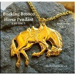 Gold Plated Bucking Horse Pendant, Bucking Bronco Pendant