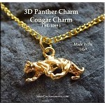 Gold Plated Cougar Charm, Panther Charm, 3D Cat