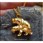 MATURE Gold Plated Naughty Bears Pendant - CLOSEOUT