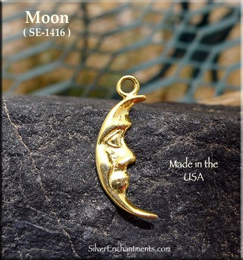 Gold Plated Moon Charm, Crescent Moon Pendant