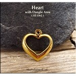 Gold Plated Heart Charm with Dangle Area - CLOSEOUT
