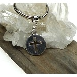 Cross Keychain, Cut Out Cross Medallion Keychain, Christian Key Ring