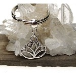 Lotus Key Ring, Lotus of Spiritual Enlightenment Egyptian Sesen Hindu Buddhist Keychain, Lotus Key Chain