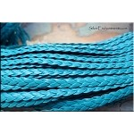 5mm Flat Braided Leather Cord by the Yard, TURQUOISE BLUE