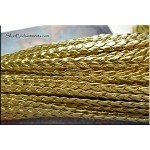 5mm Flat Braided Leather Cord by the Yard, METALLIC GOLD