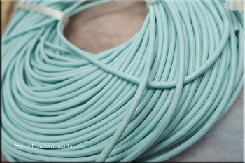 2mm Light Blue Leather Cord, 10-feet