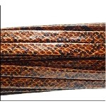 Golden BROWN SNAKESKIN Leather Strap by the Foot 10mm Wide