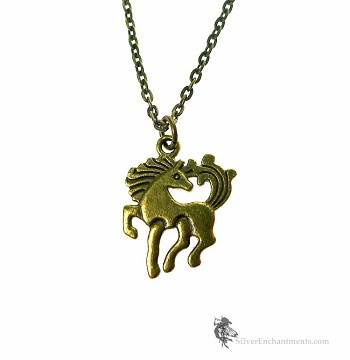 Bronze Horse Necklace Double Sided Equestrian Jewelry
