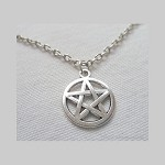 Silver Pentacle Necklace, Pentagram Charm Necklace, Everyday Wiccan Jewelry