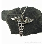 Silver Large Caduceus Necklace - Everyday Medical Symbol Jewelry