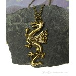 Bronze Dragon Necklace, Large Dragon Pendant Jewelry