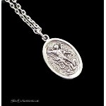 Silver St. Michael Necklace, Guardian Angel Charm Neckace - Everyday Protection Jewelry