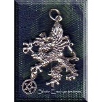 Sterling Silver Gryphon with Pentacle Necklace, Grphon Pentacle Pendant