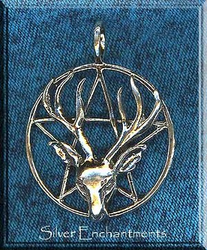 Sterling Silver Large Stag Pentacle Pendant, 46x36mm