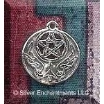 Sterling Silver Celtic Lunar Pentacle Charm, 18x16mm