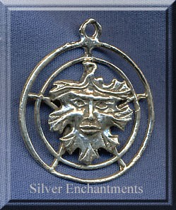 Sterling Silver Greenman Pentacle Pendant, Pentacle with Greenman Necklace