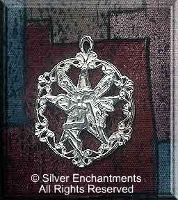 Sterling Silver Victorian Fairy Pentacle Pendant