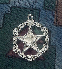 Sterling Silver Victorian Rose Pentacle Necklace, Sub-Rosa Pagan Pendant, Pagan Rose Jewelry
