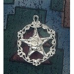 Sterling Silver Victorian Rose Pentacle Pendant