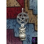 Sterling Silver Owl Pentacle Pendant
