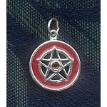 Red Enameled Sterling Silver Pentagram with Crystal