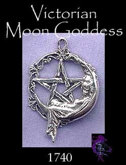 Sterling Silver Victorian Moon Goddess Pentacle, Goddess Pentagram Jewelry