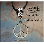 Peace Sign Large Hole Dangle Charm - Fits All European Add a Bead Jewelry