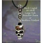 Black Crystal Skull Large Hole Dangle Charm-Pendant