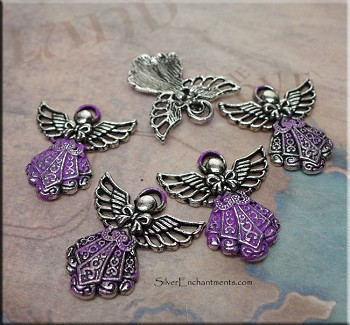 Ornate Angel Necklace with Amethyst Patina