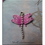 Dragonfly Charm with Pink Patina