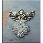 Ornate Aqua Angel Pendant Necklace, Light Blue Patina