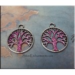 Tree of Life Charm with Hot Pink Patina