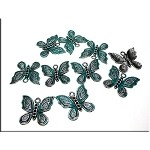 Fancy Butterfly Charm with Verdigris Patina