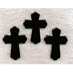 Black Onyx Cross Pendant, 48x35mm Gemstone Cross Beads (1)