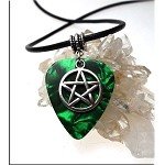 Pentacle Guitar Pick Pendant Necklace, Green